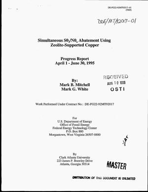 Primary view of object titled 'Simultaneous SO{sub 2}/NO{sub x} abatement using zeolite-supported copper. Progress report, April 1--June 30, 1995'.