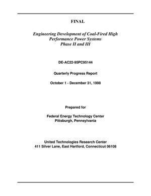 Primary view of object titled 'Engineering development of coal-fired high performance power systems, Phase II and III'.