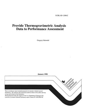 Primary view of object titled 'Provide thermogravimetric analysis data to performance assessment'.
