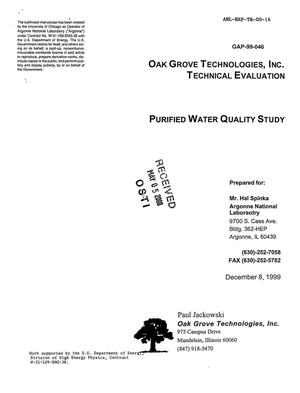 Primary view of object titled 'Purified water quality study'.