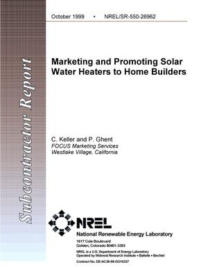 Primary view of object titled 'Marketing and promoting solar water heaters to home builders'.