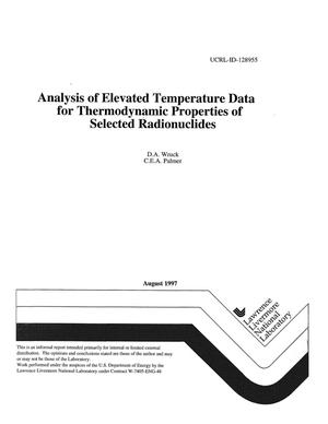 Primary view of object titled 'Analysis of elevated temperature data for thermodynamic properties of selected radionuclides'.