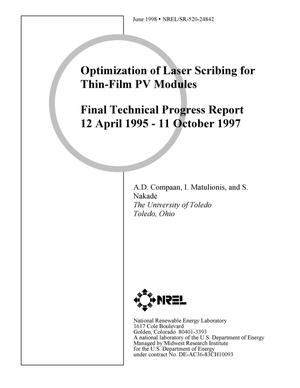 Primary view of object titled 'Optimization of laser scribing for thin-film PV modules. Final technical progress report, 12 April 1995--11 October 1997'.