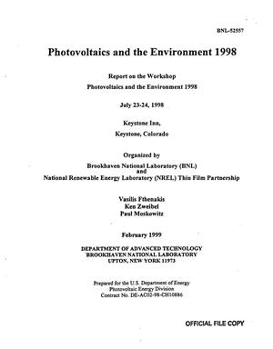 Primary view of object titled 'PHOTOVOLTAICS AND THE ENVIRONMENT 1998. REPORT ON THE WORKSHOP PHOTOVOLTAICS AND THE ENVIRONMENT 1999'.