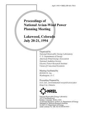 Primary view of object titled 'Proceedings of National Avian-Wind Power Planning Meeting, Lakewood, Colorado, July 20-21, 1994'.