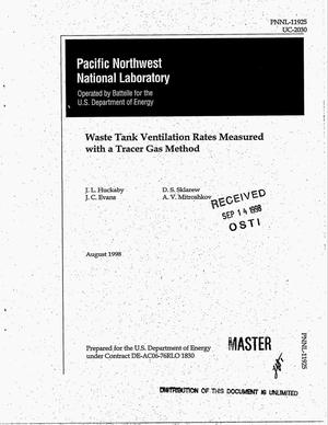 Primary view of object titled 'Waste tank ventilation rates measured with a tracer gas method'.