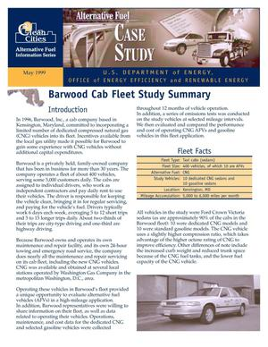 Primary view of object titled 'Clean Cities Case Study: Barwood Cab Fleet Study Summary'.