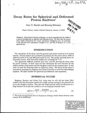 Primary view of object titled 'Decay rates of spherical and deformed proton emitters'.