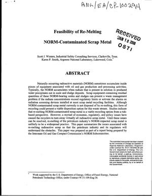 Primary view of object titled 'Feasibility of re-melting NORM-contaminated scrap metal'.