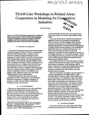 Primary view of object titled 'TEAM-like workshops in related areas : cooperation in modeling for competitive industries.'.