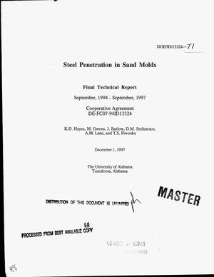 Primary view of object titled 'Steel penetration in sand molds. Final technical report, September 1994--September 1997'.