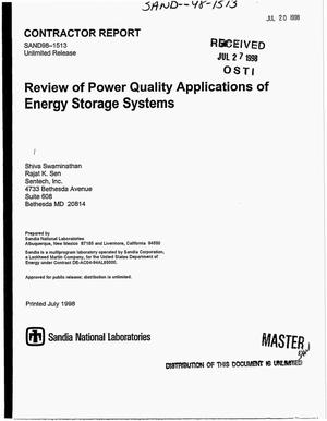 Primary view of object titled 'Review of power quality applications of energy storage systems'.