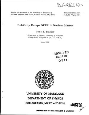 Primary view of object titled 'Relativity damps OPEP in nuclear matter'.