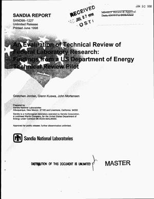 Primary view of object titled 'An evaluation of technical review of federal laboratory research: Findings from a US Department of Energy technical review pilot'.