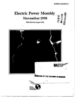Primary view of object titled 'Electric power monthly, November 1998, with data for August 1998'.