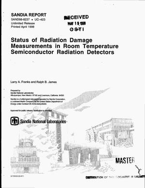 Primary view of object titled 'Status of radiation damage measurements in room temperature semiconductor radiation detectors'.