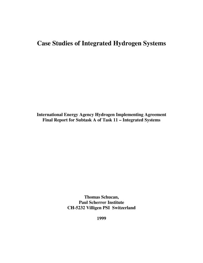 Case Studies Of Integrated Hydrogen Systems International Energy