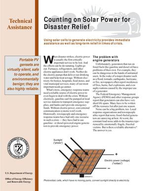 Primary view of object titled 'Counting on Solar Power for Disaster Relief: Federal Energy Management Program (FEMP) Technical Assistance Fact Sheet'.