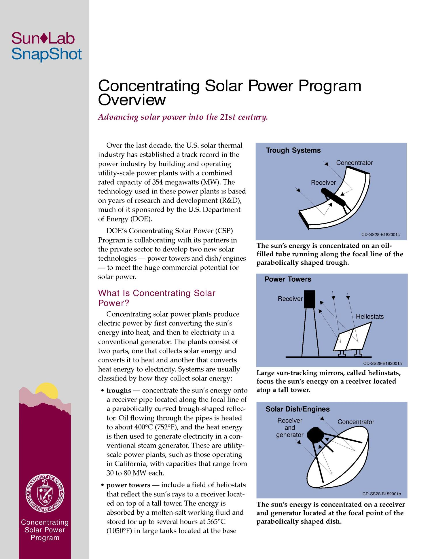 SunLab: Concentrating Solar Power Program Overview                                                                                                      [Sequence #]: 1 of 4