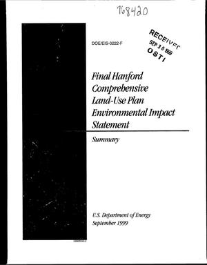 Primary view of object titled 'Final Hanford Comprehensive Land-Use Plan Environmental Impact Statement, Hanford Site, Richland, Washington'.