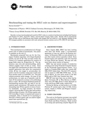 Primary view of object titled 'Benchmarking and tuning the MILC code on clusters and supercomputers'.