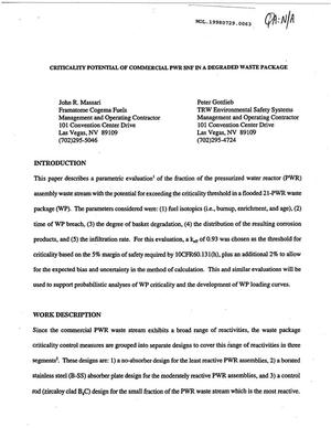Primary view of object titled 'CRITICALITY POTENTIAL OF COMMERCIAL PWR SNF IN A DEGRADED WASTE PACKAGE'.