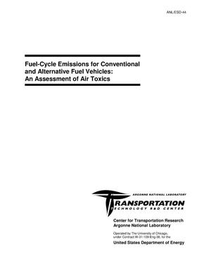 Primary view of object titled 'Fuel-cycle emissions for conventional and alternative fuel vehicles : an assessment of air toxics.'.
