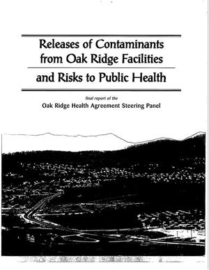 Primary view of object titled '[Tennessee Health Studies Agreement] Releases of contaminants from Oak Ridge facilites and risks to public health'.