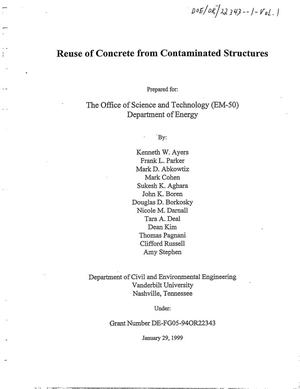Primary view of object titled 'Reuse of concrete from contaminated structures'.