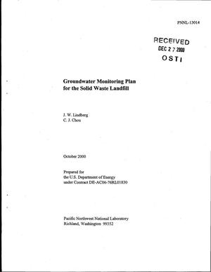 Primary view of object titled 'Groundwater Monitoring Plan for the Solid Waste Landfill'.