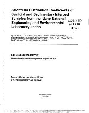 Primary view of object titled 'Strontium Distribution Coefficients of Surficial and Sedimentary Interbed Samples from the Idaho National Engineering and Environmental Laboratory, Idaho'.