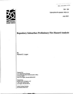 Primary view of object titled 'Repository Subsurface Preliminary Fire Hazard Analysis'.