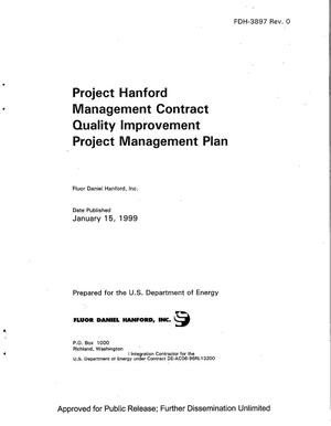 Primary view of object titled 'Project Hanford management contract quality improvement project management plan'.