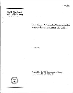 Primary view of object titled 'Guidelines - A Primer for Communicating Effectively with NABIR Stakeholders'.