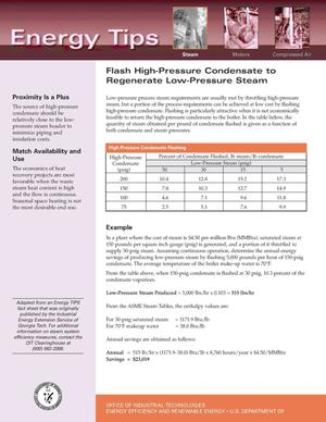 Primary view of object titled 'Flash High-Pressure Condensate to Regenerate Low-Pressure Steam: Office of Industrial Technologies (OIT) Steam Energy Tips Fact Sheet'.