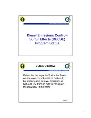 Primary view of object titled 'Diesel Emissions Control-Sulfur Effects (DECSE) Program Status'.