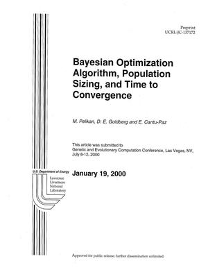Primary view of object titled 'Bayesian Optimization Algorithm, Population Sizing, and Time to Convergence'.