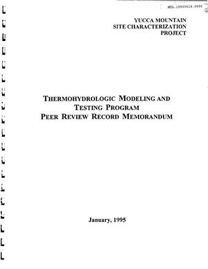 Primary view of object titled 'Thermohydrologic Modeling and Testing Program Peer Review Record Memorandum'.