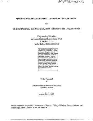 Primary view of object titled 'Forums for international technical cooperation.'.