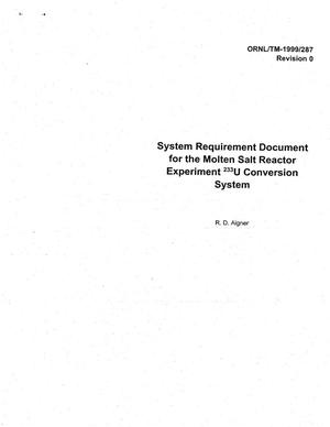 Primary view of object titled 'Systems Requirement Document for the MSRE U-233 Conversion System'.