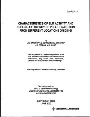 Primary view of object titled 'Characteristics of Elm Activity and Fueling Efficiency of Pellet Injection from Different Locations on DIII-D'.