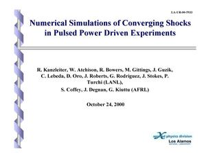 Primary view of object titled 'NUMERICAL SIMULATIONS OF CONVERGING SHOCKS IN PULSED POWER DRIVEN EXPERIMENTS'.