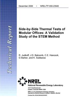 Primary view of object titled 'Side-by-Side Thermal Tests of Modular Offices: A Validation Study of the STEM Method'.