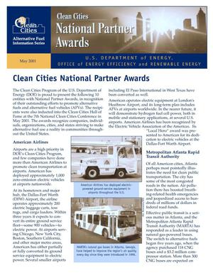 Primary view of object titled 'Clean Cities National Partner Awards: Clean Cities Fact Sheet'.