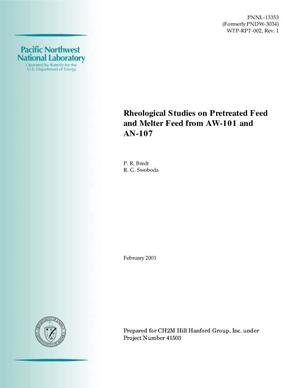 Primary view of object titled 'Rheological Studies on Pretreated Feed and Melter Feed from AW-101 and AN-107'.