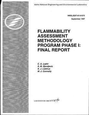 Primary view of object titled 'Flammability Assessment Methodology Program Phase I: Final Report'.