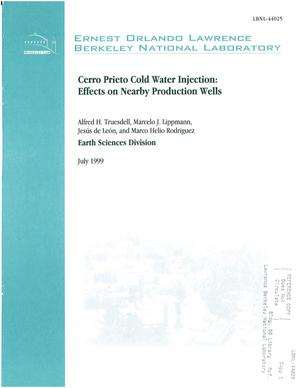 Primary view of object titled 'Cerro Prieto cold water injection: effects on nearby production wells'.