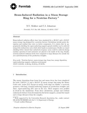Primary view of object titled 'Beam-induced radiation in a muon storage ring for a neutrino factory'.