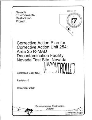 Primary view of object titled 'Corrective Action Plan for Corrective Action Unit 254: Area 25 R-MAD Decontamination Facility Nevada Test Site, Nevada'.