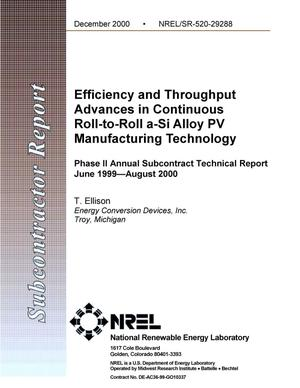 Primary view of object titled 'Efficiency and Throughput Advances in Continuous Roll-To-Roll a{_}Si Alloy PV Manufacturing Technology: Phase II Annual Subcontract Technical Report; June 1999--August 2000'.